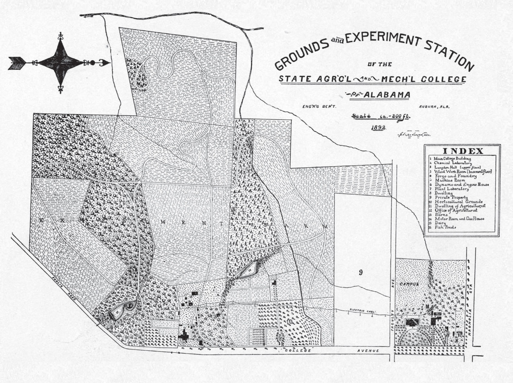 THE FARM EXPERIMENT: As depicted in this historic map, agricultural lands composed the overwhelming majority of campus in 1892.