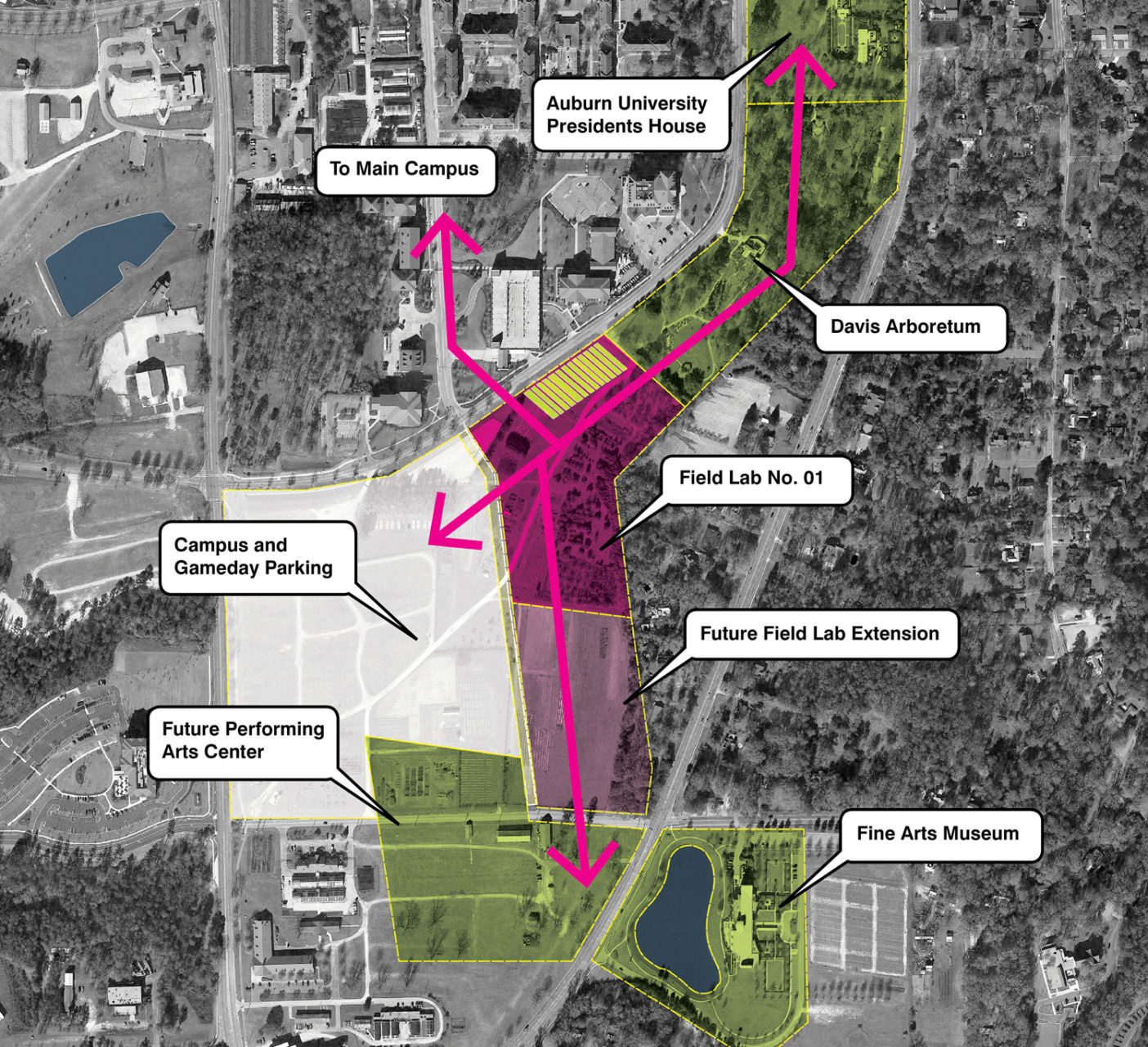 CAMPUS TRAIL NETWORK: An emerging trail system integrates the field lab into other centers of the campus and greater community.