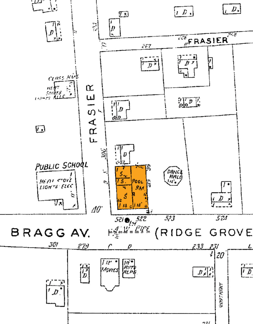 RICH HISTORY: Quite the active intersection, this 1928 sanborn map illustrates the cultural center of Auburn's African-American community prior to integration. The structure at 274 Bragg houses a 'pool room' and three separate stores ('S') while an all-black public school, dance hall, and movie theater are adjacent to the building. Sadly, 274 Bragg is the only structure that remains.