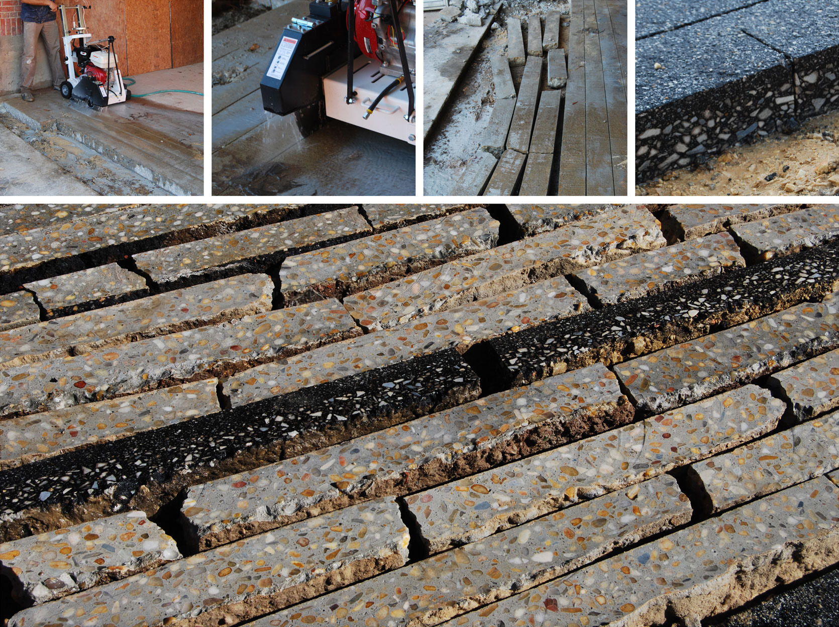 MATERIAL HARVEST + REUSE: Existing concrete paving was carefully extracted and reused as permeable paving, walkways, and edging.