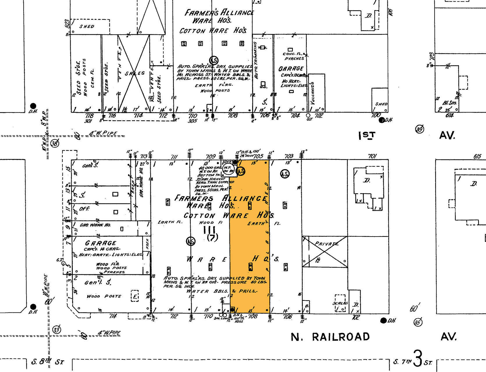 LOCAL HISTORIES: 1924 Sanborn map reveals the structure serving as the Farmers' Alliance Cotton Warehouses.  Founded in 1875, Farmers' Alliance united southern farmers by establishing cooperative stores, warehouses, and cotton gins. The warehouses participated in a steady flow of goods between the local farms and regional rails.