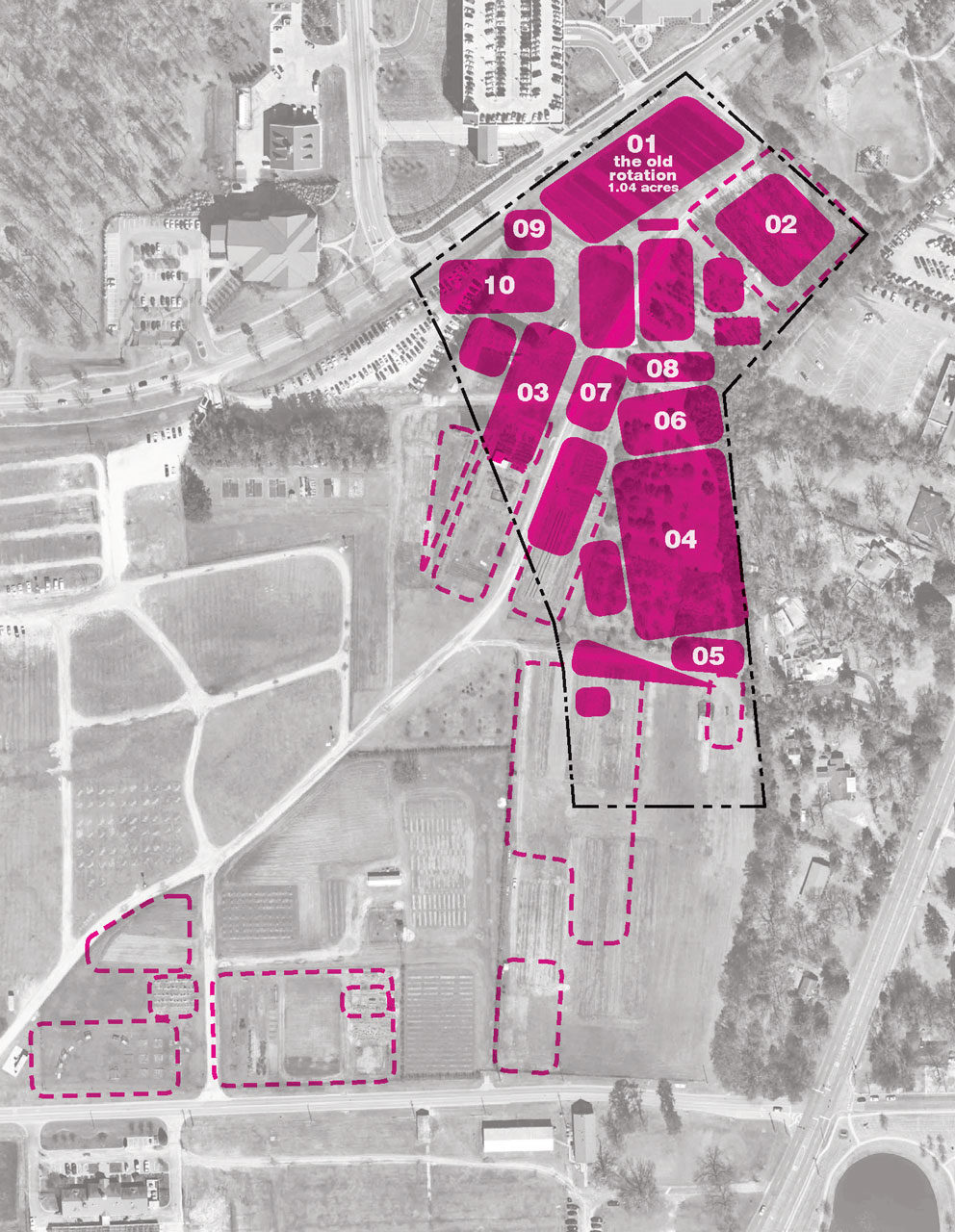 PLOT CHOREOGRAPHY: Disparate plots from across campus are woven together with new plots to establish Field Lab No. 01, an area dedicated to hands-on collaboration and greater visibility of active fieldwork at Auburn.